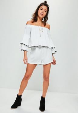 White Contrast Trim Bardot Double Layer Romper
