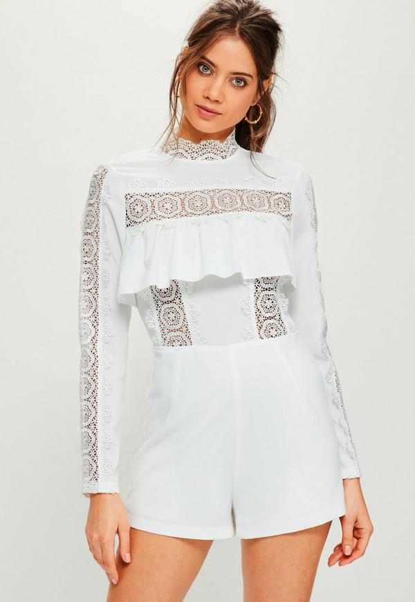 White Lace Insert Frill Long Sleeve Playsuit