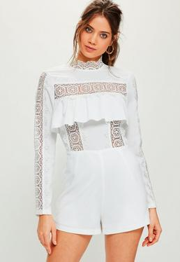 White Lace Insert Frill Long Sleeve Romper