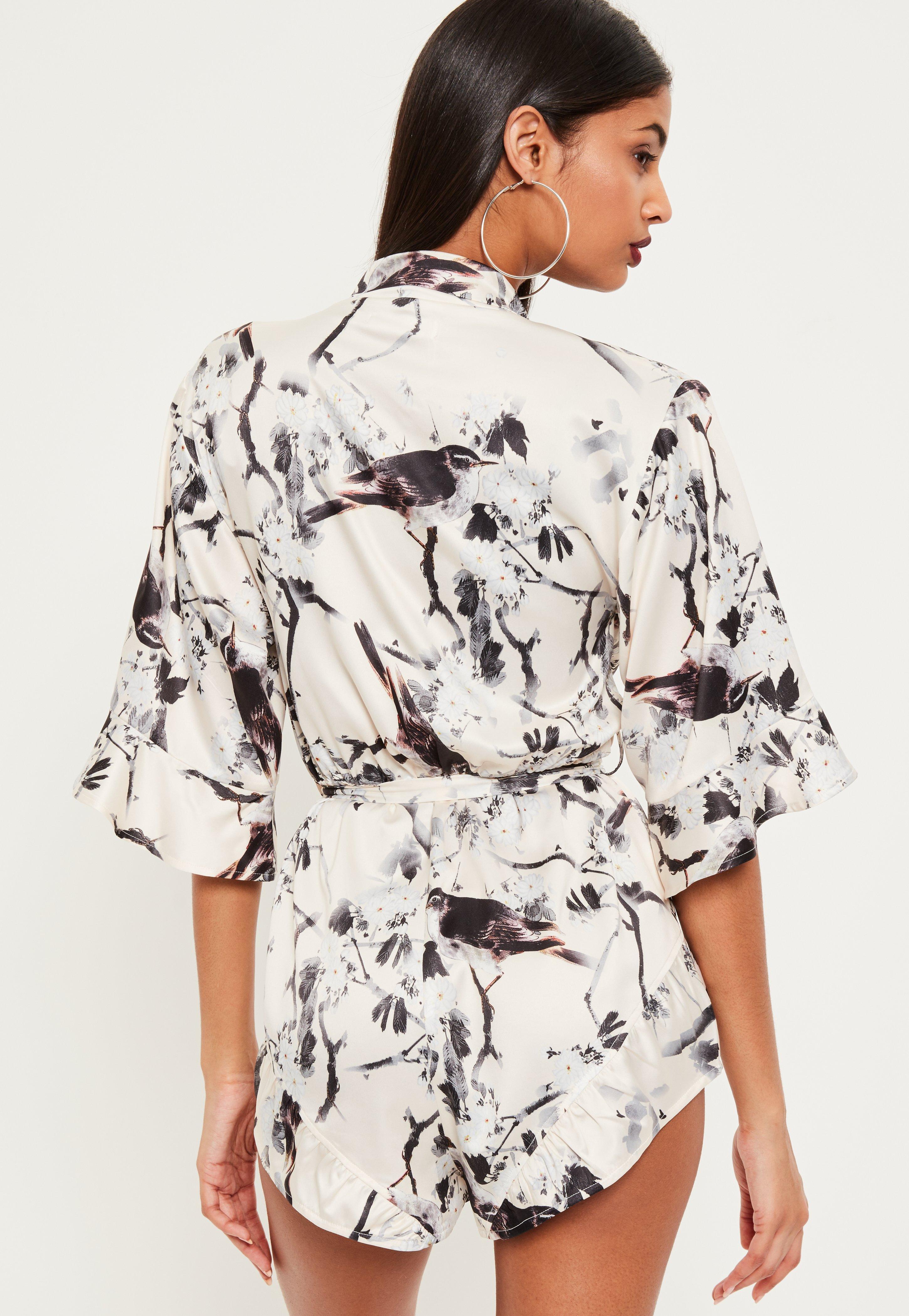 4b6fb9f6f5 Missguided Cream Oriental Print Satin Kimono Playsuit at £30