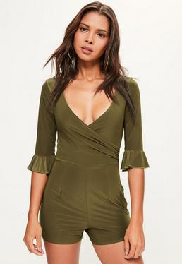 Khaki Slinky Frill Sleeve Wrap Playsuit
