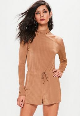 Camel Ribbed Choker Neck Cut Away Playsuit