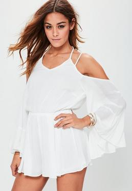 White Cheesecloth Cold shoulder Halter Playsuit