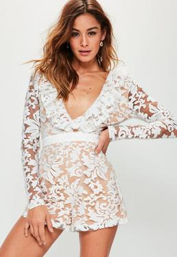 White Premium Lace Frill Plunge Playsuit