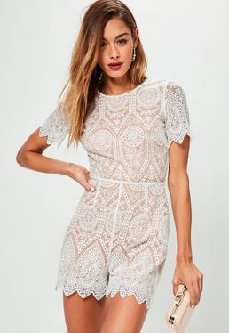 White V Back Short Sleeve Lace Playsuit
