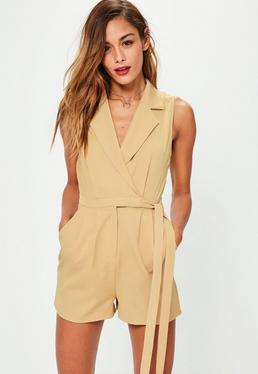 Nude Sleeveless Utility Wrap Playsuit