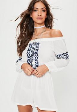 White Cheesecloth Embroidered Bardot Playsuit