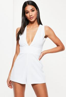 White Sleeveless Plunge Crepe Playsuit