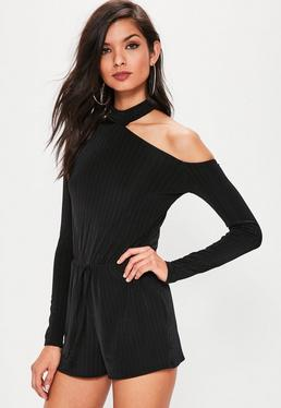 Black Ribbed Choker Neck Cut Away Romper