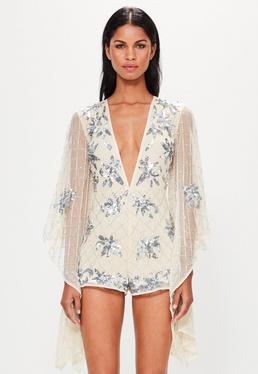 Peace + Love Beżowy krótki mocno zdobiony kombinezon w stylu kimono