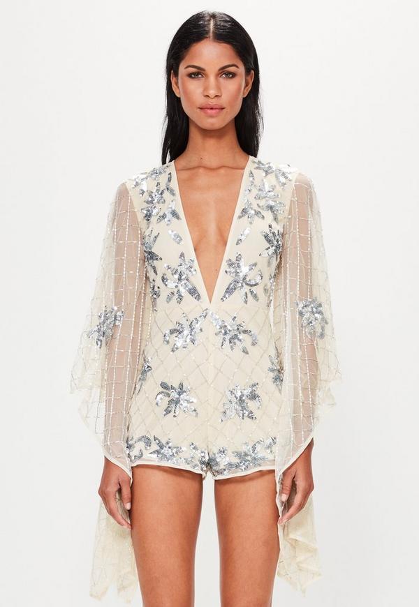 Peace + Love Silver Kimono Sleeve Embellished Playsuit