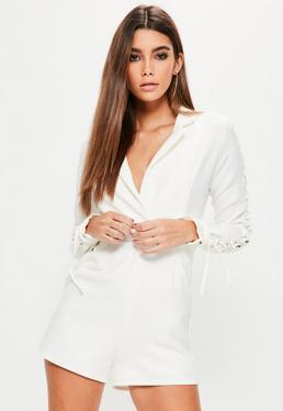 White Lace Up Sleeve Tuxedo Romper