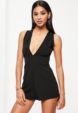 Black Sleeveless Plunge Crepe Playsuit