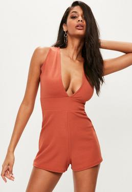 Orange Sleeveless Plunge Crepe Romper