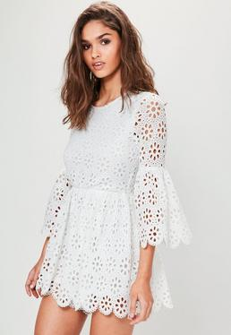 White Crochet Lace Flared Sleeve Playsuit