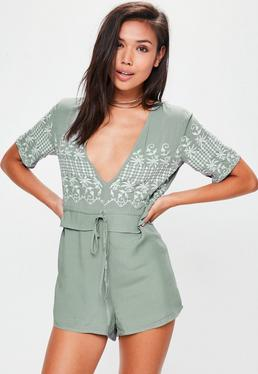 Green Frill Waist Embroidered Playsuit
