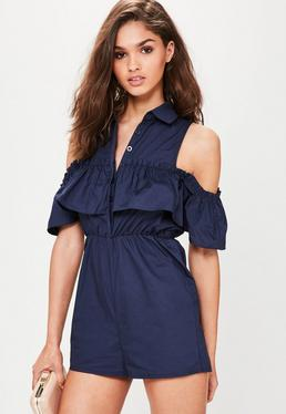 Navy Poplin Cold Shoulder Frill Playsuit