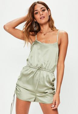 Green Ruch Tie Side Detail Playsuit