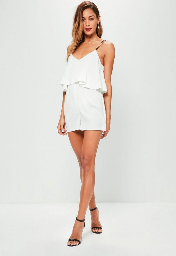 White Strappy Double Layer Cami Playsuit
