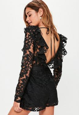 Black Premium Lace Frill Plunge Playsuit