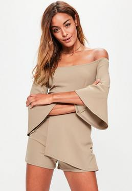 Tan Flared Sleeve Wrap Bardot Romper