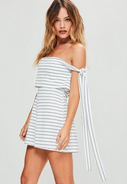 White Striped Bardot Tie Side Double Layer Romper