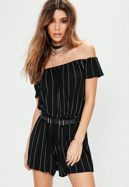 Black Striped Bardot Short Sleeve Jersey Playsuit