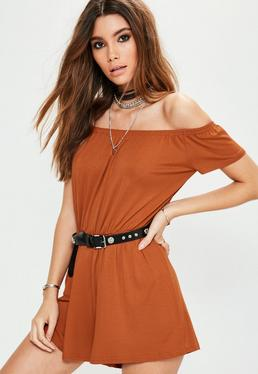 Orange Bardot Short Sleeve Jersey Playsuit