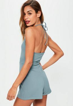 Blue Strappy 90's Neck Crepe Playsuit
