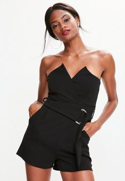 Black Bandeau Wrap Tux Belted Playsuit