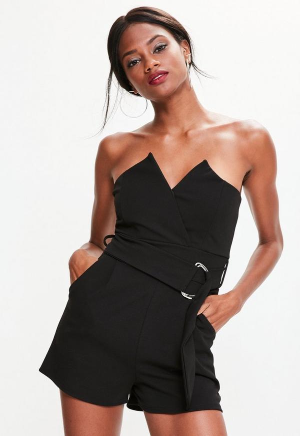 Black Bandeau Wrap Tux Belted Playsuit