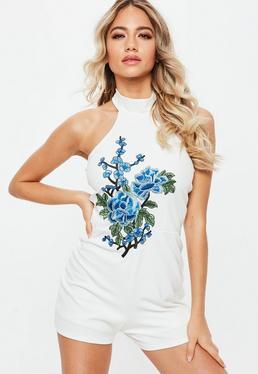 White Halterneck Floral Applique Playsuit