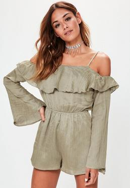 Green Bell Sleeve Cold Shoulder Crinkle Playsuit