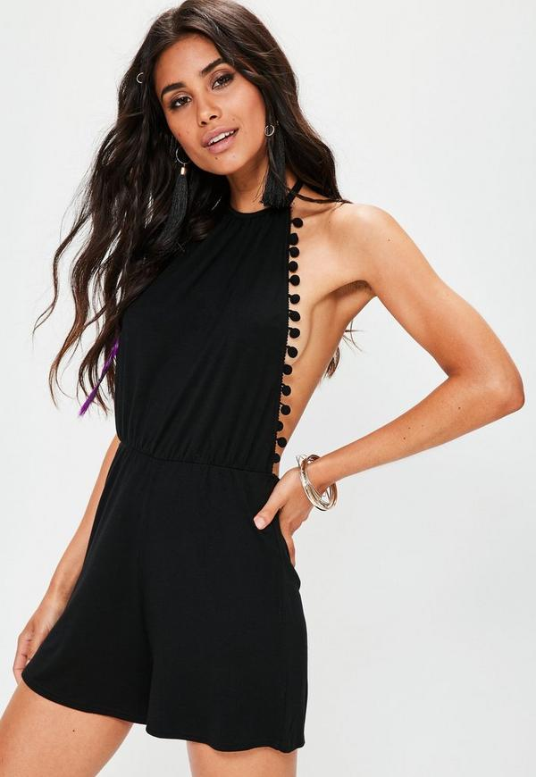 Black Jersey Halterneck Pompom Trim Playsuit
