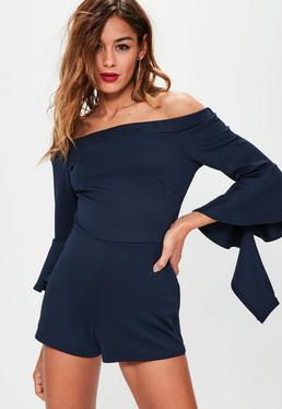 Navy Scuba Bardot Long Flared Sleeve Playsuit