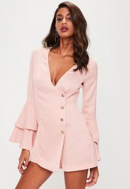 Pink Satin Wrap Button Flared Sleeve Playsuit