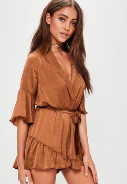 Brown Satin Wrap Kimono Playsuit