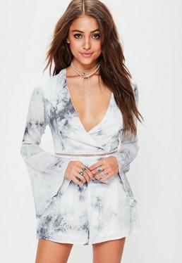 Grey Tie Dye Flare Sleeve Ladder Trim Playsuit