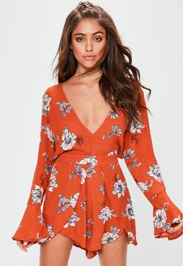 Orange Printed Cheesecloth Plunge Playsuit