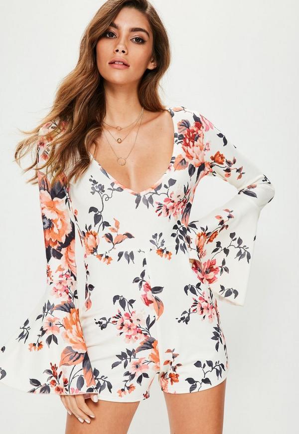 Cream Floral Print Flare Sleeve Playsuit