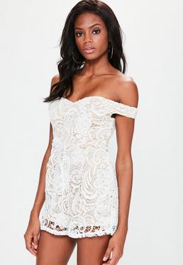 White Lace Bardot Sleeveless Playsuit