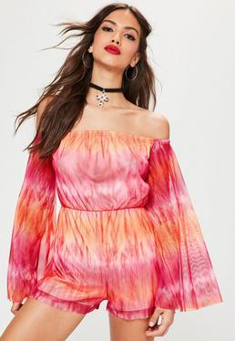 Pink Mesh Flare Long Sleeve Bardot Tie Dye Playsuit