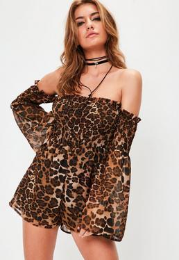 Leopard Print Shearred Bardot Brown Playsuit