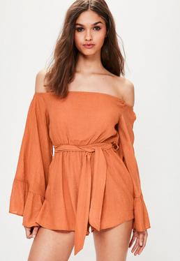 Orange Crinkle Bardot Playsuit