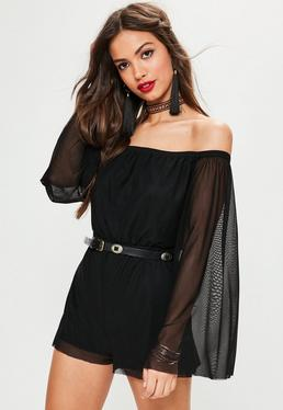 Black Mesh Flared Long Sleeve Bardot Playsuit