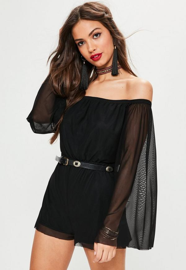 Black Mesh Flared Long Sleeve Bardot Playsuit