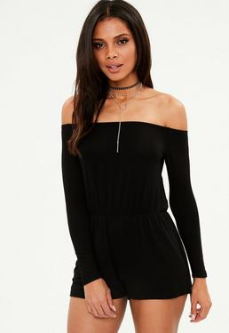 Black Jersey Bardot Romper