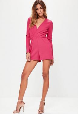 Pink Crepe Long Sleeve Wrap Playsuit