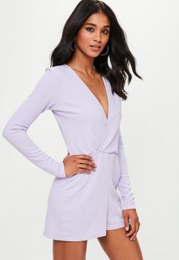 Purple Crepe Long Sleeve Wrap Playsuit