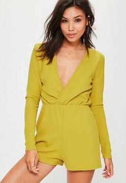 Green Crepe Long Sleeve Wrap Playsuit